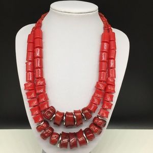 Chico's Cherry Red Faux Coral Beaded Necklace